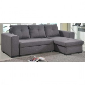 Gianni Linen Fabric Storage Chaise Sofa Bed In Grey
