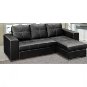 Gianni PU Leather Storage Chaise Sofa Bed In Black