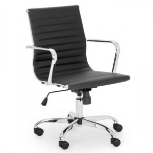 Gio Faux Leather Home And Office Chair In Black And Chrome