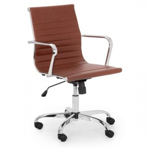 Gio Faux Leather Home And Office Chair In Brown And Chrome