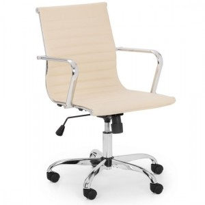 Gio Faux Leather Home And Office Chair In Ivory And Chrome