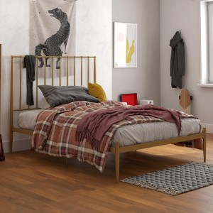 Giulia Modern Metal King Size Bed In Gold