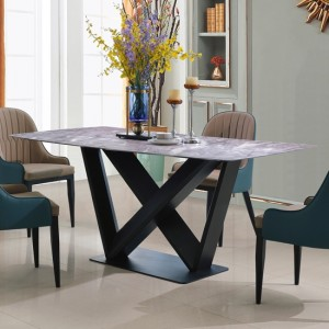 Glendale Marble Dining Table With Black Metal Frame