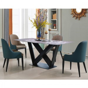 Glendale Natural Stone Marble Dining Set With 4 PU Chairs