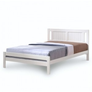 Glorry Wooden King Size Bed In White