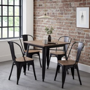 Grafton Square Wooden Dining Table In Mocha Elm With 4 Chairs