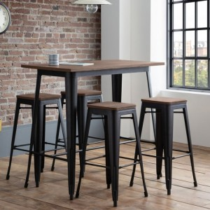 Grafton Wooden Bar Table In Mocha Elm With 4 Backless Bar Stools