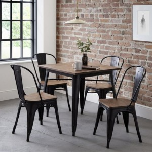 Grafton Wooden Dining Table In Mocha Elm With 4 Chairs