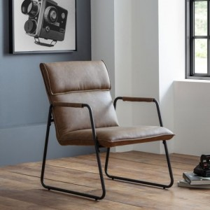 Gramercy Faux Leather Bedroom Chair In Brown With Black Legs