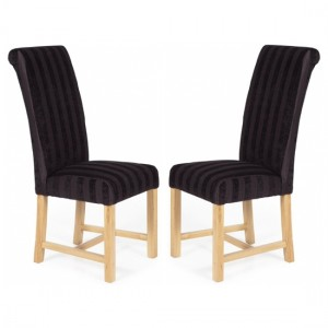 Greenwich Aubergine Stripe Dining Chairs In Pair