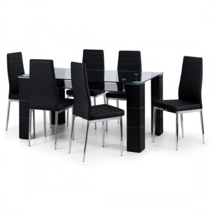 Greenwich Clear Glass Dining Table With 6 Black Faux Leather Chairs