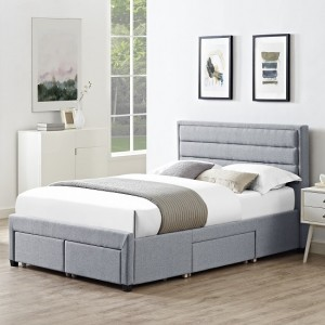 Greenwich Linen Fabric Double Bed In Grey