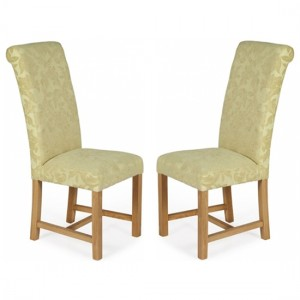 Greenwich Oatmeal Floral Dining Chairs In Pair