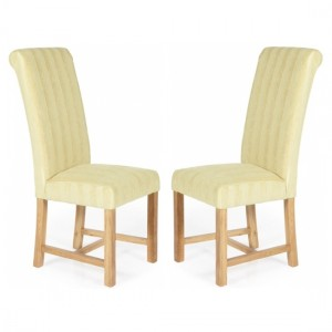 Greenwich Oatmeal Stripe Dining Chairs In Pair