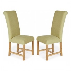 Greenwich Plain Oatmeal Floral Dining Chairs In Pair