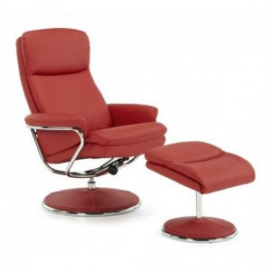 Halden Leather Swivel Recliner Chair In Red