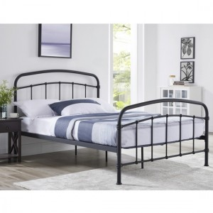 Halston Metal Double Bed In Black