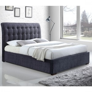 Hamilton Fabric Upholstered Double Bed In Dark Grey