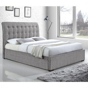 Hamilton Fabric Upholstered King Size Bed In Light Grey
