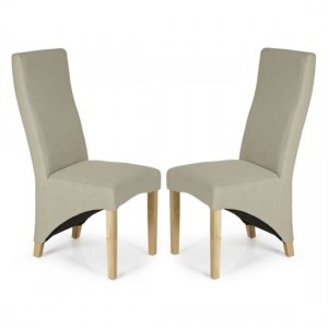 Hammersmith Latte Plain Fabric Dining Chairs In Pair