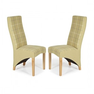 Hammersmith Mustard Tartan Dining Chairs In Pair