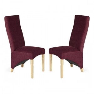 Hammersmith Red Plain Fabric Dining Chairs In Pair
