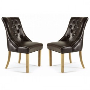 Hampton Brown Bonded Leather Dining Chairs In Pair