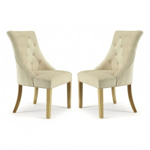Hampton Pearl Fabric Dining Chairs In Pair