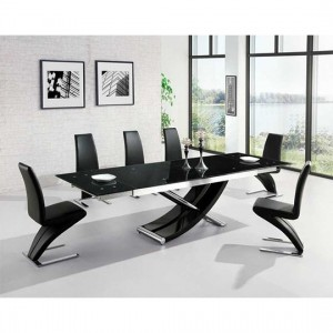 Hanover Glass Extendable Dining Table With 6 Hereford Black Chairs