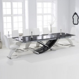 Hanover Glass Extendable Dining Table With 6 Hereford White Chairs