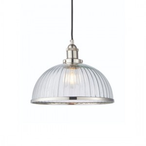 Hansen Clear Ribbed Glass Ceiling Pendant Light In Bright Nickel
