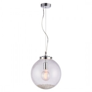 Harbour Small Clear Bubble Glass Ceiling Pendant Light In Chrome
