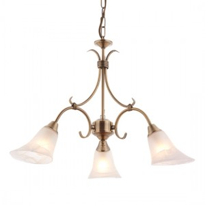 Hardwick 3 Lights Frosted Glass Ceiling Pendant Light In Antique Brass