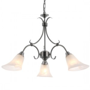 Hardwick 3 Lights Frosted Glass Ceiling Pendant Light In Antique Silver