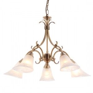 Hardwick 5 Lights Frosted Glass Ceiling Pendant Light In Antique Brass