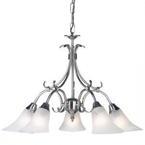 Hardwick 5 Lights Frosted Glass Ceiling Pendant Light In Antique Silver
