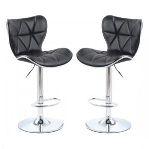 Harlow Black Faux Leather Bar Stools In Pair With Chrome Base