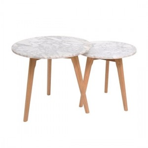 Harlow Round White Marble Nest Of Tables With Oak Legs