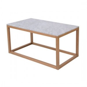 Harlow White Marble Coffee Table With Oak Wooden Base