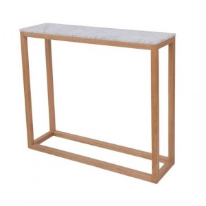 Harlow White Marble Top Console Table With Oak Legs