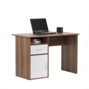 Hastings Wooden Computer Desk In Walnut And White With 1 Door