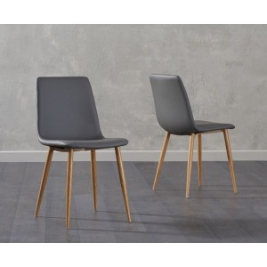 Parson Dining Chair In Grey Faux Leather And Oak Legs In A Pair