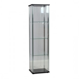 Hatton Clear Glass Display Unit In Chrome And Black With 1 Door