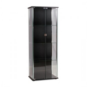 Hatton Clear Glass Display Unit In Chrome And Black With 2 Doors