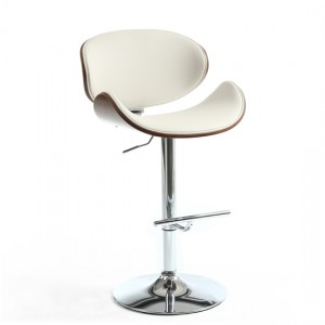 Havana Walnut Leather Effect Bar Stool In Cream