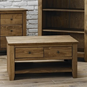 Havana Wooden Coffee Table In Pine With 2 Drawers And Shelf