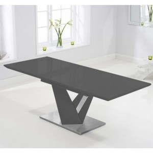 Haven Extending Wooden Dining Table In Dark Grey High Gloss