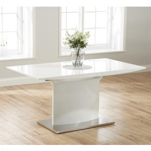 Hayden Extending Wooden Dining Table In White High Gloss