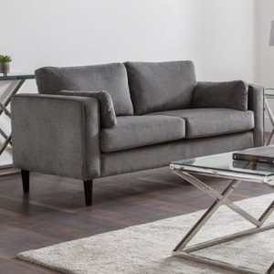 Hayward Chenille Fabric Upholstered 2 Seater Sofa In Elephant Grey