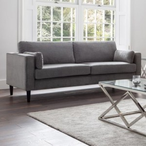 Hayward Chenille Fabric Upholstered 3 Seater Sofa In Elephant Grey
